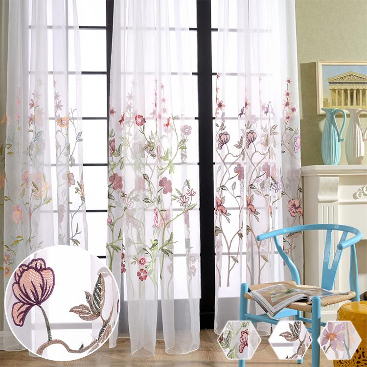 優雅な花刺繍レースカーテン