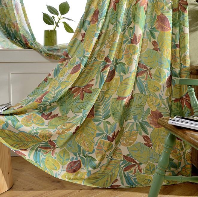油絵タッチのハワイアンスタイルドレープカーテン