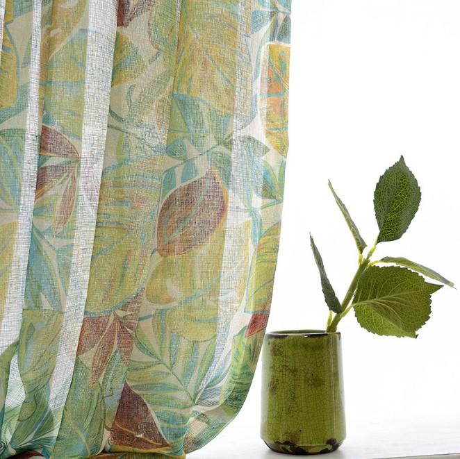 油絵タッチのハワイアンスタイルレースカーテン