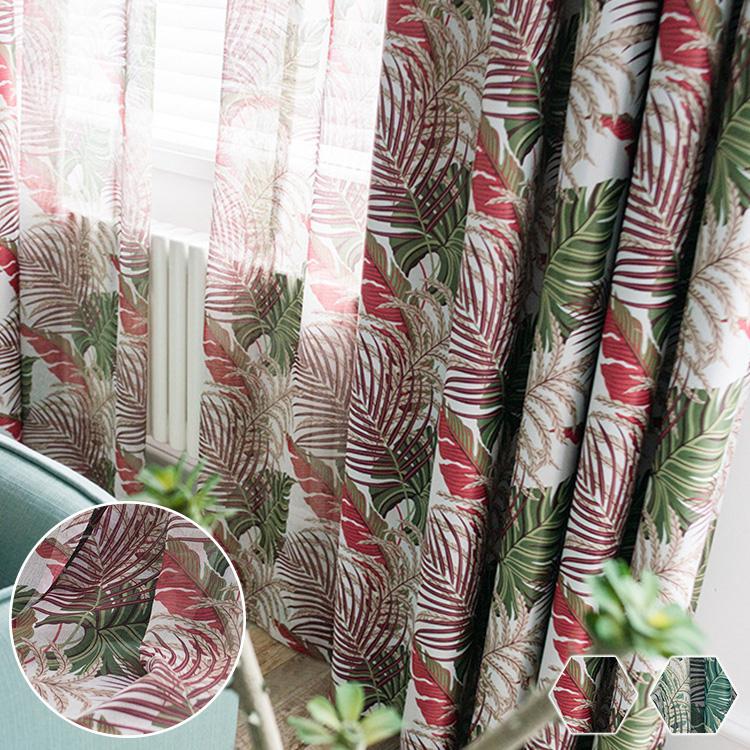 ハワイアンスタイルリーフ柄ドレープカーテン