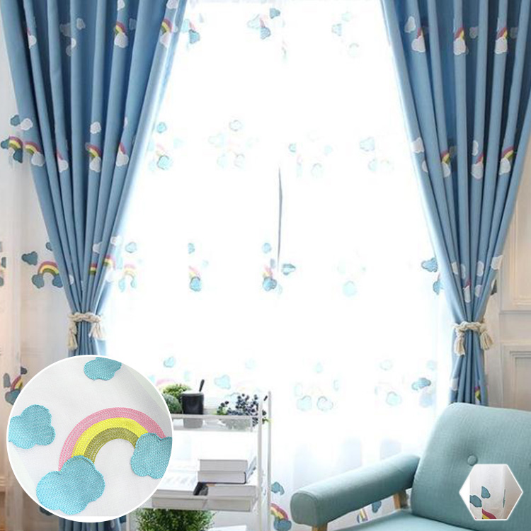 可愛い雲や虹のデザインレースカーテン