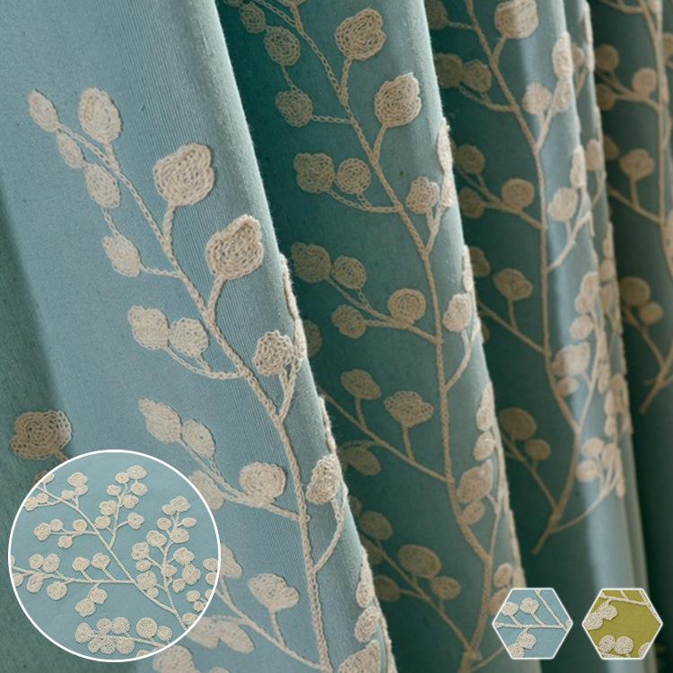 丁寧に刺繍された木柄ドレープカーテン
