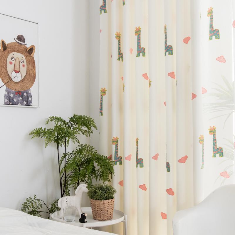 かわいいキリンの刺繍のドレープカーテン