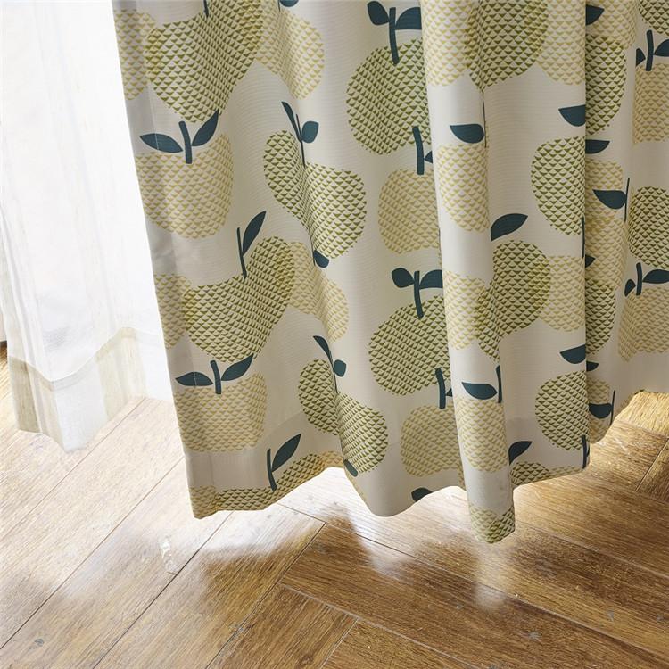 北欧テイストのリンゴ柄の2級遮光ドレープカーテン
