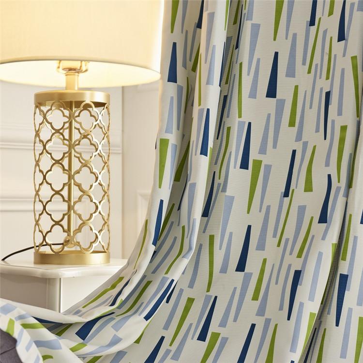 北欧テイストの幾何学模様の2級遮光ドレープカーテン