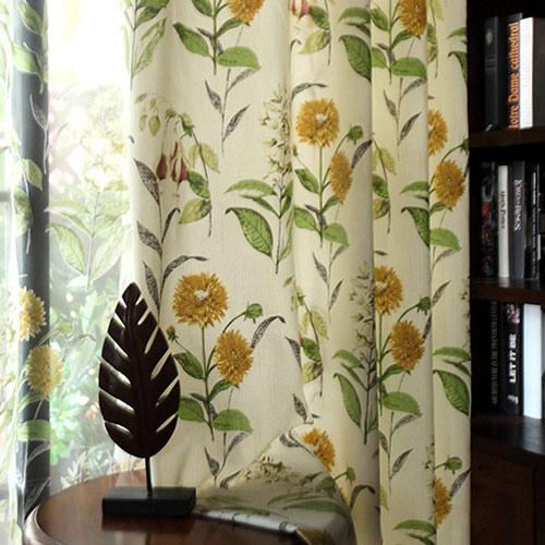 レトロな向日葵柄ドレープカーテン