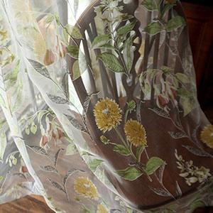 レトロな向日葵柄レースカーテン