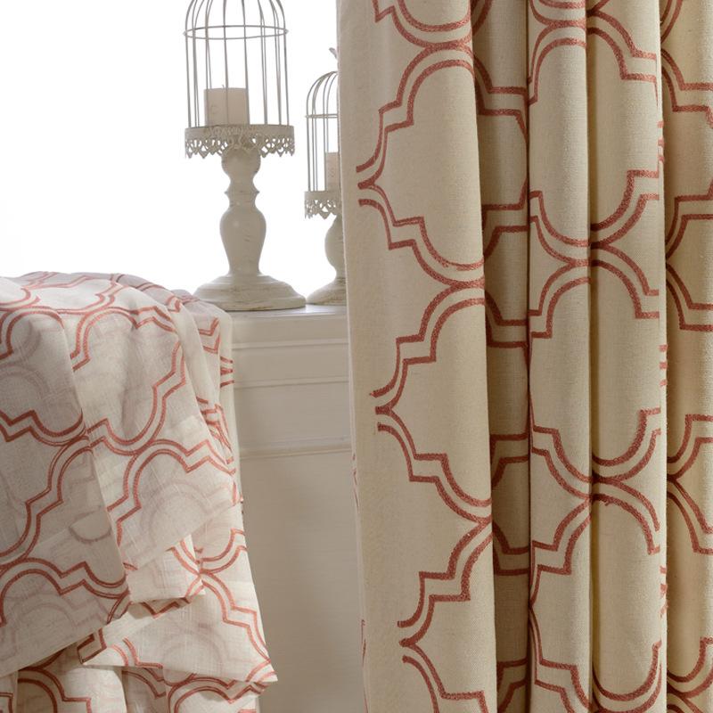 シンプルな二重線描き模様ドレープカーテン