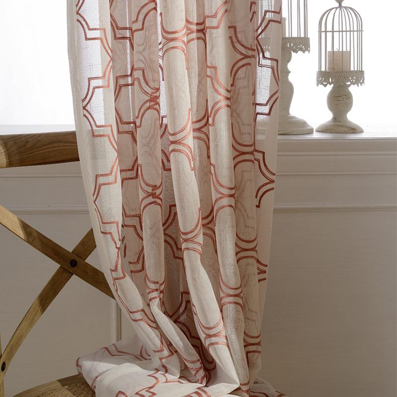 シンプルな二重線描き模様ドレースカーテン