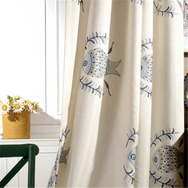 北欧の絵本風魚刺繍ドレープカーテン