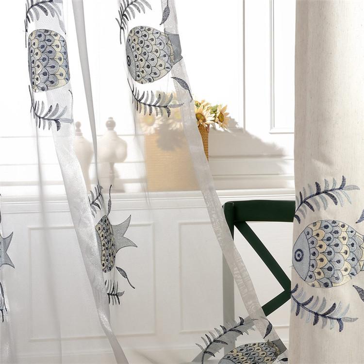 北欧の絵本風魚刺繍レースカーテン