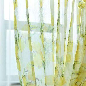 レモンがプリントされたレースカーテン