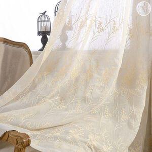 キュートでゆらゆらしている花やリーフを刺繍したカーテン
