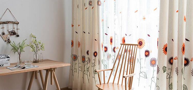 可愛いひまわり刺繍のレース付きカーテンセット