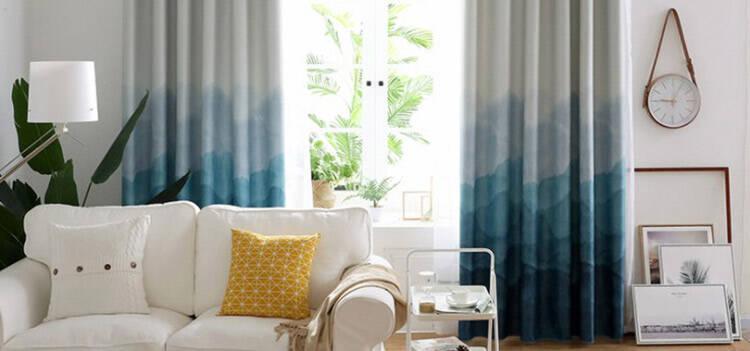 水墨画のようなブルー系のグラデーションカーテン