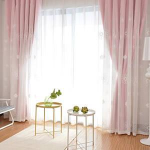 花刺繍レースの姫系一体型カーテン