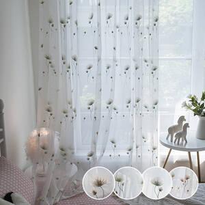タンポポ刺繍のレースカーテン
