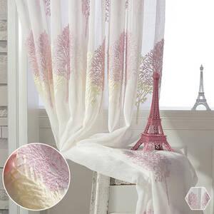 優しい配色の刺繍レースカーテン