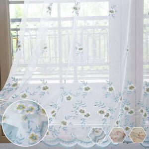 小花刺繍レースカーテン
