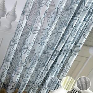 蒲扇モチーフの絵柄のレースカーテン