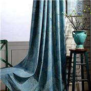 藍染めの風合いをデザインしたドレープカーテン