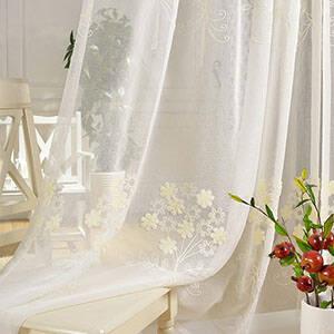 かわいい花刺繍レースカーテン