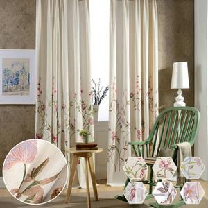 フラワー刺繍のドレープカーテン
