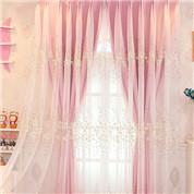 華やかな花刺繍の一体型カーテン