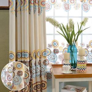 鮮やかな花火モチーフの刺繍のレース付きセットカーテン