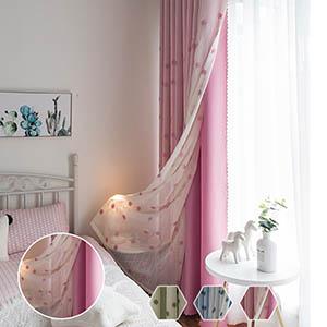 フラワー刺繍の一体型カーテン