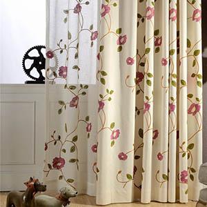 エレガントなフラワー刺繍カーテン